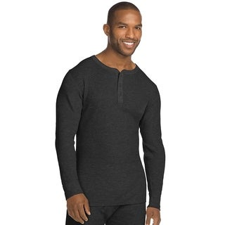 Hanes mens Organic Cotton Thermal Henley (14510)