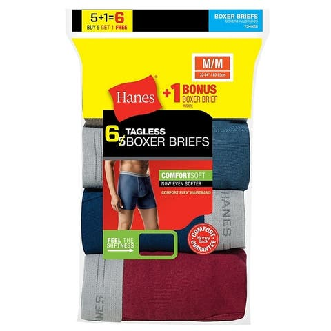 Hanes Mens TAGLESS Boxer Briefs with Comfort Flex Waistband 6-Pack (7349Z6)