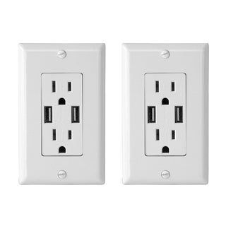 Electric Wall Outlet with USB Charger 4.0A Charging Capability Duplex Receptacle 15A Wall socket plate (White Pack of 2)