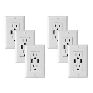 Electric Wall Outlet with USB Charger 4.0A Charging Capability Duplex Receptacle 15A Wall socket plate (White Pack of 6)