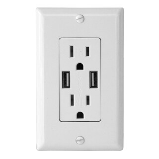 Electric Wall Outlet with USB Charger 4.0A Charging Capability Duplex Receptacle 15A Tamper Resistant Wall socket plate (White)