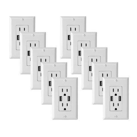 Electric Wall Outlet with USB Charger 4.0A Charging Capability Duplex Receptacle 15A Wall socket plate (White Pack of 10)
