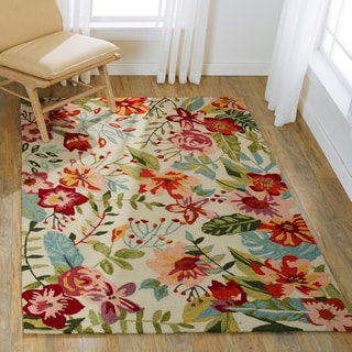 "Hand-hooked Floral Ivory/ Blush Multi Transitional Rug - 3'6"" x 5'6"""
