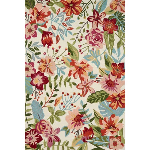 Hand-hooked Floral Ivory/ Blush Multi Transitional Rug - 2'3 x 3'9
