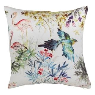 Tropical Bird Down Filled Linen Throw Pillow
