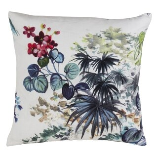 Decorative Linen Down-Filled Throw Pillow With Tropical Plant Print