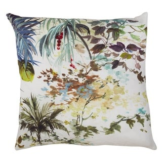Botanical Watercolor Print Down Filled Linen Throw Pillow