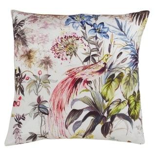 Watercolor Bird Print Down Filled Linen Throw Pillow