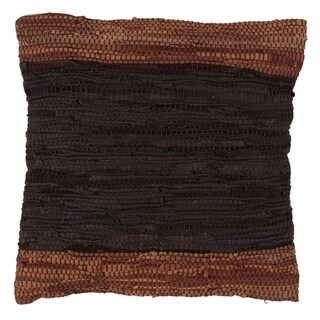 Leather Chindi Decorative Down Filled Throw Pillow With Two-Tone Design