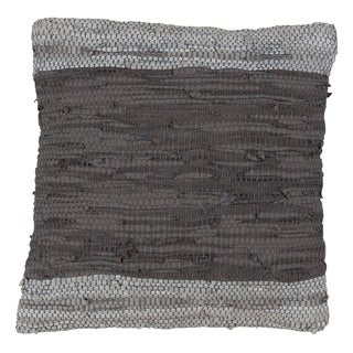 Chindi Woven Leather Design Down Filled Throw Pillow In Two-Tone Grey
