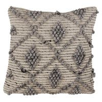 Wool Blend Down Filled Throw Pillow With Knotted Diamond Design