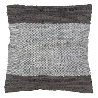 Two-Tone Leather Chindi Down Filled Throw Pillow