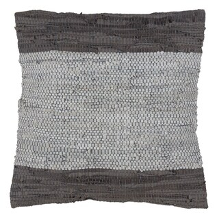 Grey Woven Two-Tone Leather Chindi Design Down Filled Throw Pillow