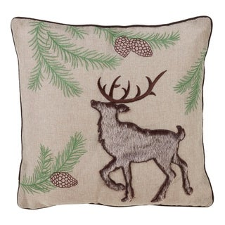 Embroidered Down Filled Throw Pillow With Faux Fur Reindeer Design