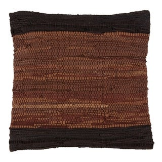 Two-Tone Leather Woven Chindi Design Down Filled Throw Pillow