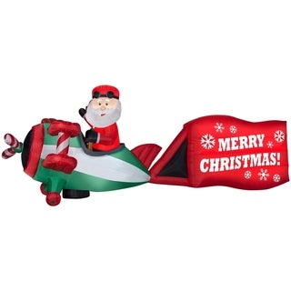 """Christmas Airblown Inflatables Santa-Airplane w/Sign """"Merry Christmas"""""""