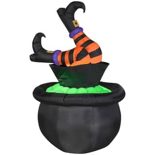 Halloween Airblown Inflatables Animated Witch Legs in Cauldron