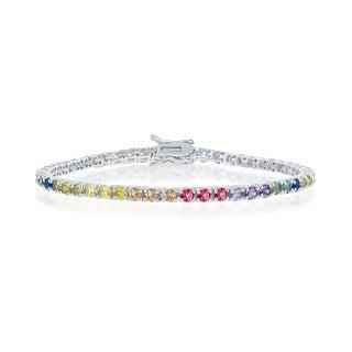 La Preciosa Sterling Silver or 14K Gold Overlay Rainbow CZ 3MM Tennis 7.5'' Bracelet - 7.5