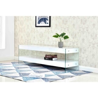 Best Master Furniture Glossy White 2-shelf TV Stand