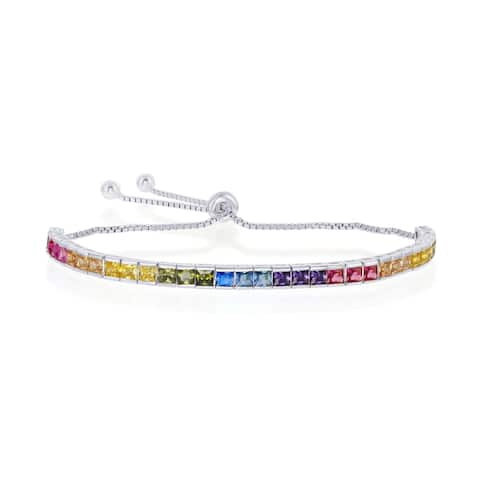 La Preciosa Sterling Silver or 14K Gold Overlay Rainbow CZ Channel-Setting Adjustable Bolo Bracelet