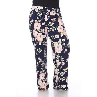 White Mark Women's Floral Print Plus Size Palazzo Pants