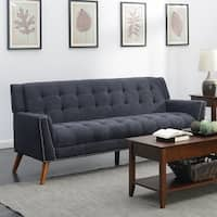 Kendall  Mid-Century Grey Upholstered Tufted Sofa