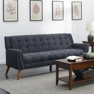 Exceptionnel Kendall Mid Century Grey Upholstered Tufted Sofa