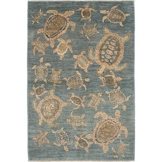 ECARPETGALLERY Hand-knotted Peshawar Finest Sky Blue Wool Rug - 4'2 x 6'2