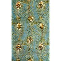 KAS Catalina Blue Peacock Feathers Rug - 7'9 x 10'6