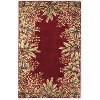 KAS Emerald Ruby Tropical Border Wool Rug - 8' x 11'