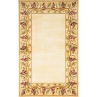 KAS Emerald Ivory Grapes Border Rug - 9'3 x 13'3