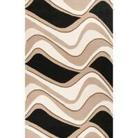 KAS Rugs Eternity Handmade Black/Beige Wool/Cotton Waves Rug - 8' x 10'6