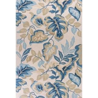 Porch & Den Ophelia Ivory/ Blue Leaf Pattern Rug