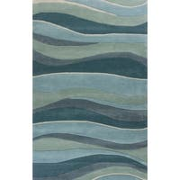 KAS Eternity Ocean Landscapes Blue Wool Abstract Handmade Area Rug - 8' x 10'6