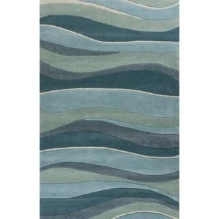 KAS Eternity Ocean Landscapes Blue Wool Abstract Handmade Area Rug - 8' x 10'6