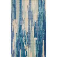 KAS Whisper Ivory/Blue Brushstroke Wool Rug - 7'9 x 9'9