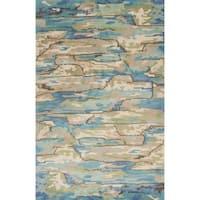 KAS Whisper Beige/Blue Landscapes Wool Area Rug - 9' x 13'