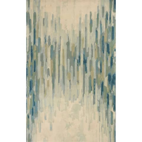KAS Whisper Shades of Green Wool Hand-Tufted Rug