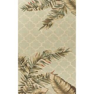 KAS Sparta Sage Tropical Mosaic Hand-Tufted Wool Rug