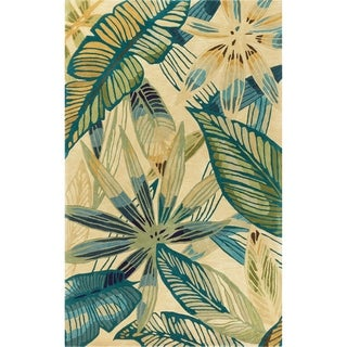 Porch & Den Hand-tufted Wool Tropical Leaf Area Rug