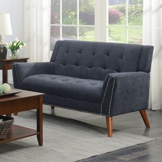 Kendall Mid-Century Grey Upholstered Tufted Loveseat