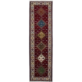 eCarpetGallery  Hand-knotted Royal Kazak Dark Red Wool Rug - 2'9 x 9'9
