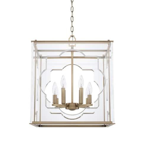 Contemporary 8-light Aged Brass Foyer Fixture - Aged Brass
