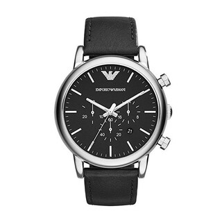 Emporio Armani Mens AR1828 Dress Black Leather Watch - N/A - N/A