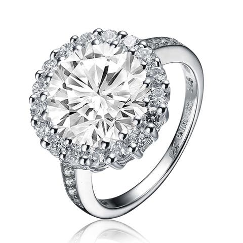 Collette Z Sterling Silver with Rhodium Plated Halo Round Clear Cubic Zirconia Partial Paved Ring