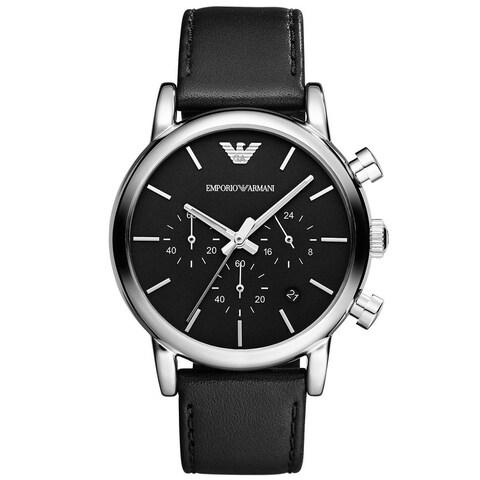 Mens AR1733 Chronograph Black Leather Strap Watch - N/A - N/A