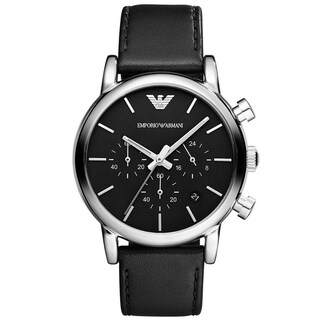 Mens AR1733 Chronograph Black Leather Strap Watch