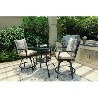 Patio Festival ® 3-Piece High Seating Swivel Chair and Table Set