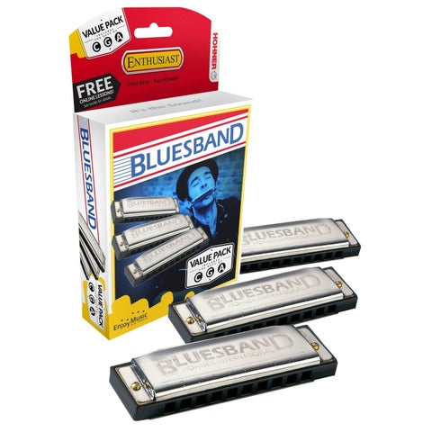 Hohner Blues Band Harmonica - 3-Pack - Keys C, G and A - N/A