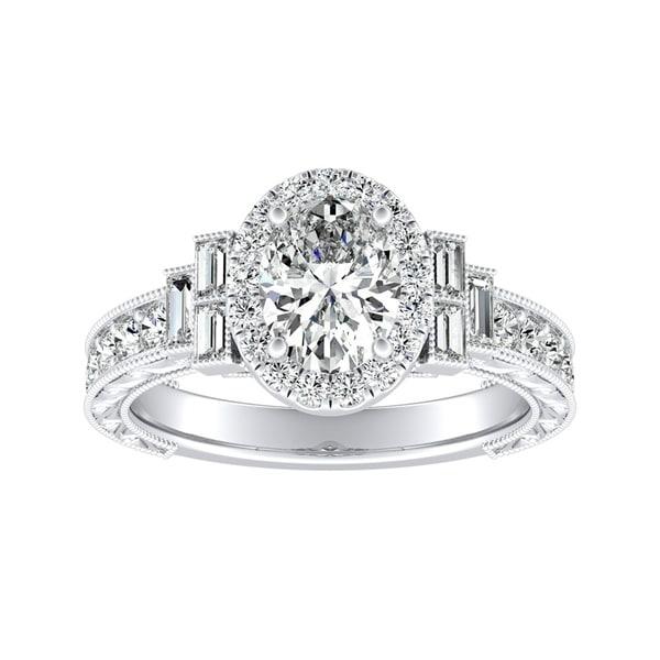 Vintage Art Deco Bridal Set Wedding Ring 3ct Oval Diamond 14k White Gold Finish